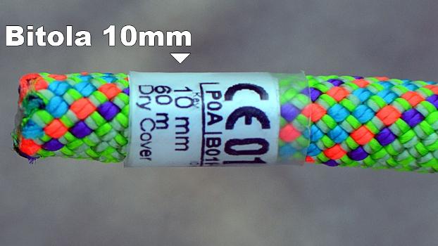 A bitola (espessura) da corda é indicada em milímetros