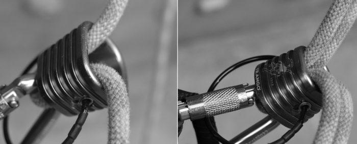 ESQUERDA: modo com mais atrito. Use para fazer segurança ou rapelar com corda fina. DIREITA: modo menos atrito. Use para rapelar com duas cordas grossas.