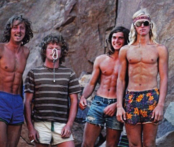 Werner Braun, Jim Pettigrew, Ron Kauk, John Bachar. Eldorado Canyon, Colorado. 70s