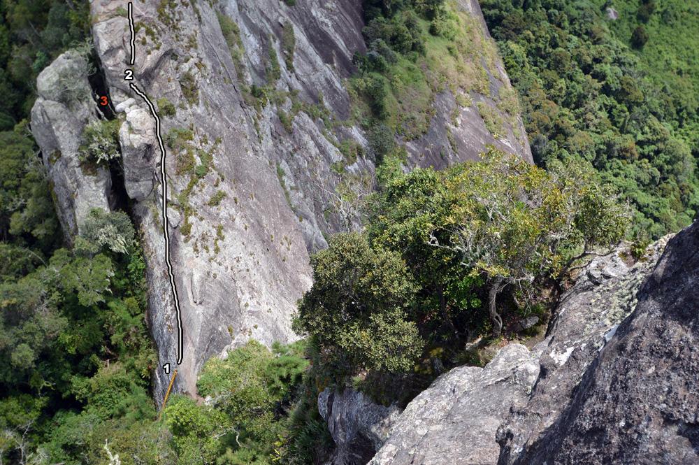 1- escada amarela 2-trepa-pedra 3- colmeia e antiga trilha.
