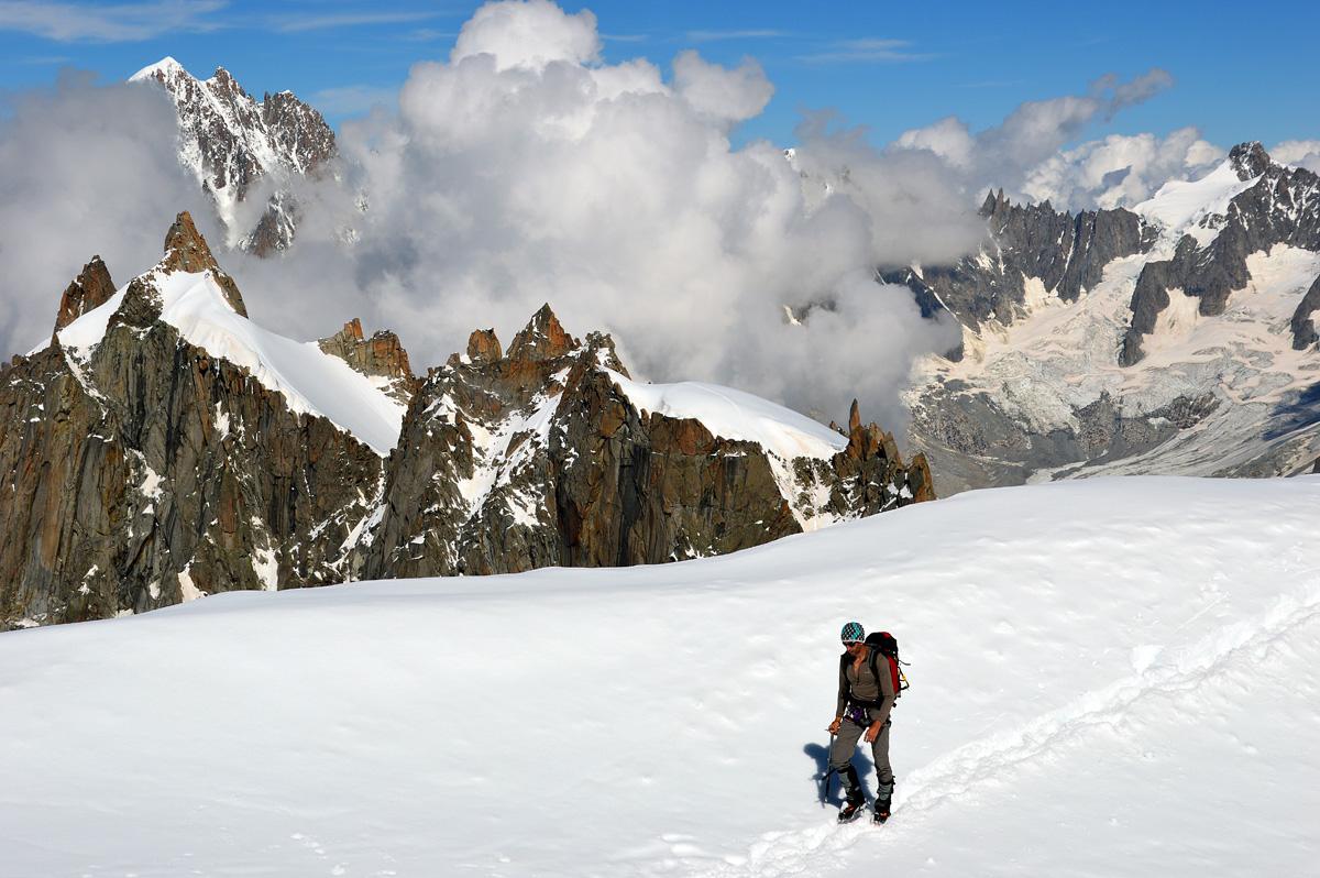 Descendo para o Valle Blanche