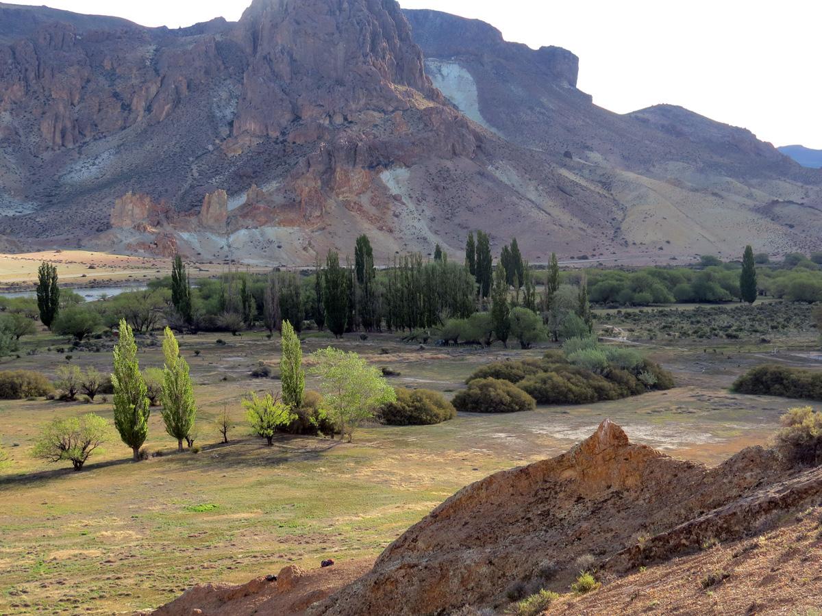 A área de camping fica entre as árvores, perto do rio Chubut.