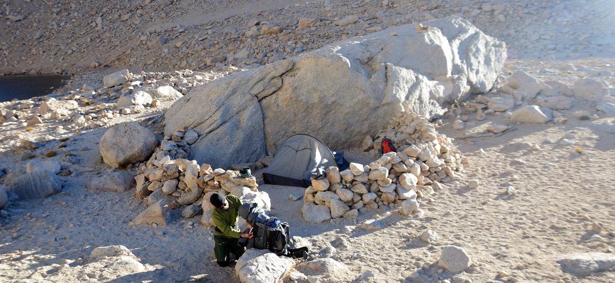 Acampamento base no Iceberg lake.