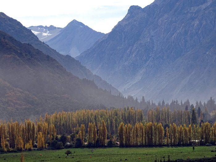 A estrada a partir de Talca passa por lugares muito bonitos.