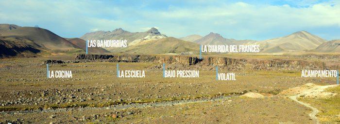 As principais formações, vistas de cima da La Gran Pared.