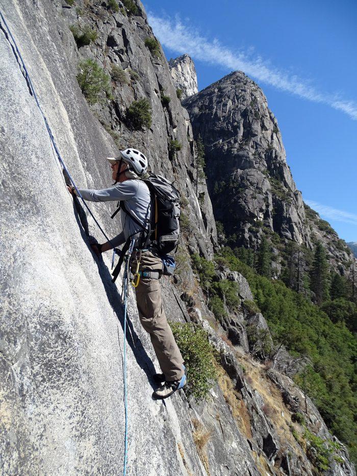 """Rogério da segunda enfiada da """"Nutcracker"""" com os Three Brothers ao fundo. Yosemite, Califórnia."""