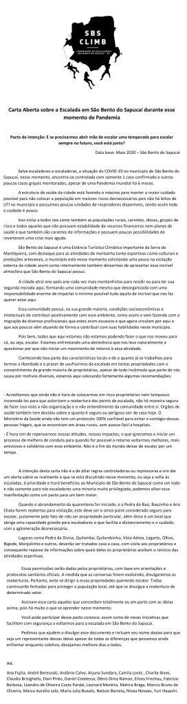 Carta Aberta sobre a Escalada em São Bento do Sapucaí durante esse momento de Pandemia