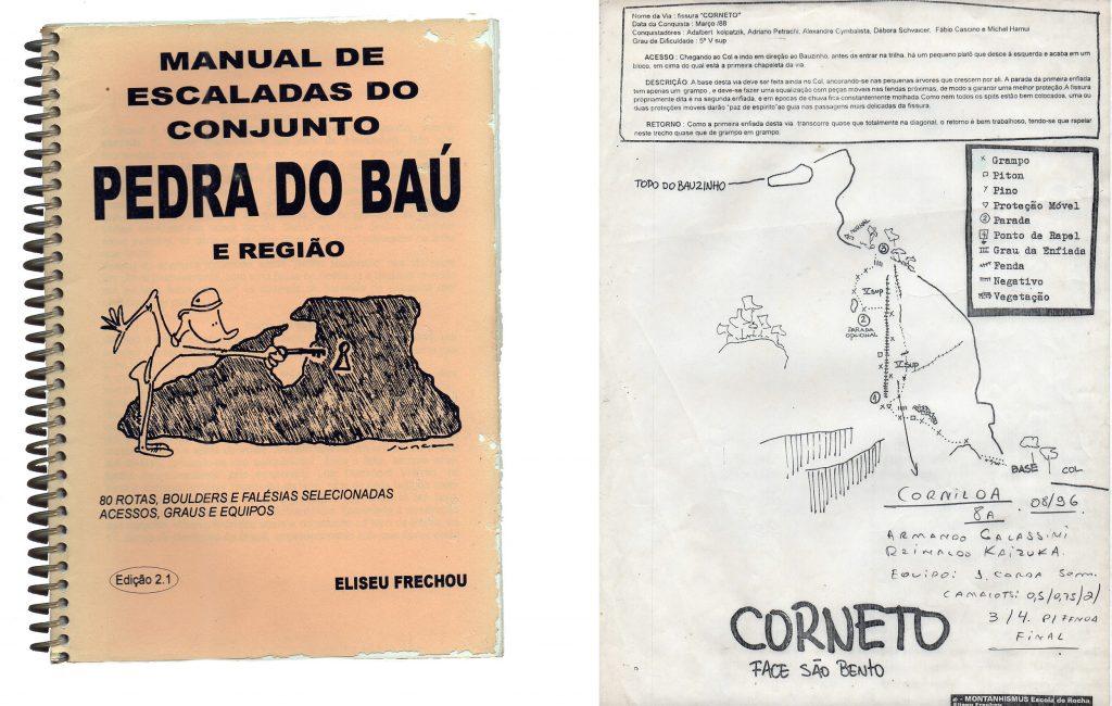 """Edição 2.1 com 80 vias e o detalhe da nova via """"Corniloa"""", traçada pelo Armando Galassini em cima do croqui da """"Corneto"""""""